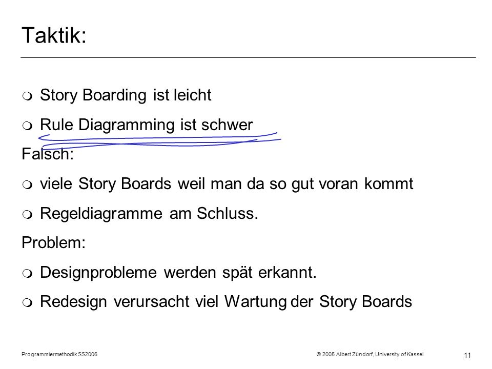 Programmiermethodik SS2006 © 2005 Albert Zündorf, University of Kassel 11 Taktik: m Story Boarding ist leicht m Rule Diagramming ist schwer Falsch: m viele Story Boards weil man da so gut voran kommt m Regeldiagramme am Schluss.