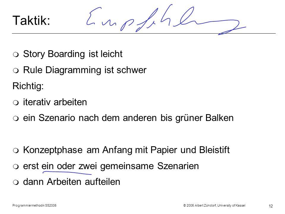 Programmiermethodik SS2006 © 2005 Albert Zündorf, University of Kassel 12 Taktik: m Story Boarding ist leicht m Rule Diagramming ist schwer Richtig: m