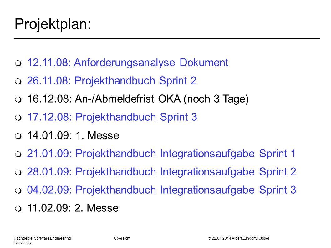 Fachgebiet Software Engineering Übersicht © 22.01.2014 Albert Zündorf, Kassel University Projektplan: m 12.11.08: Anforderungsanalyse Dokument m 26.11.08: Projekthandbuch Sprint 2 m 16.12.08: An-/Abmeldefrist OKA (noch 3 Tage) m 17.12.08: Projekthandbuch Sprint 3 m 14.01.09: 1.