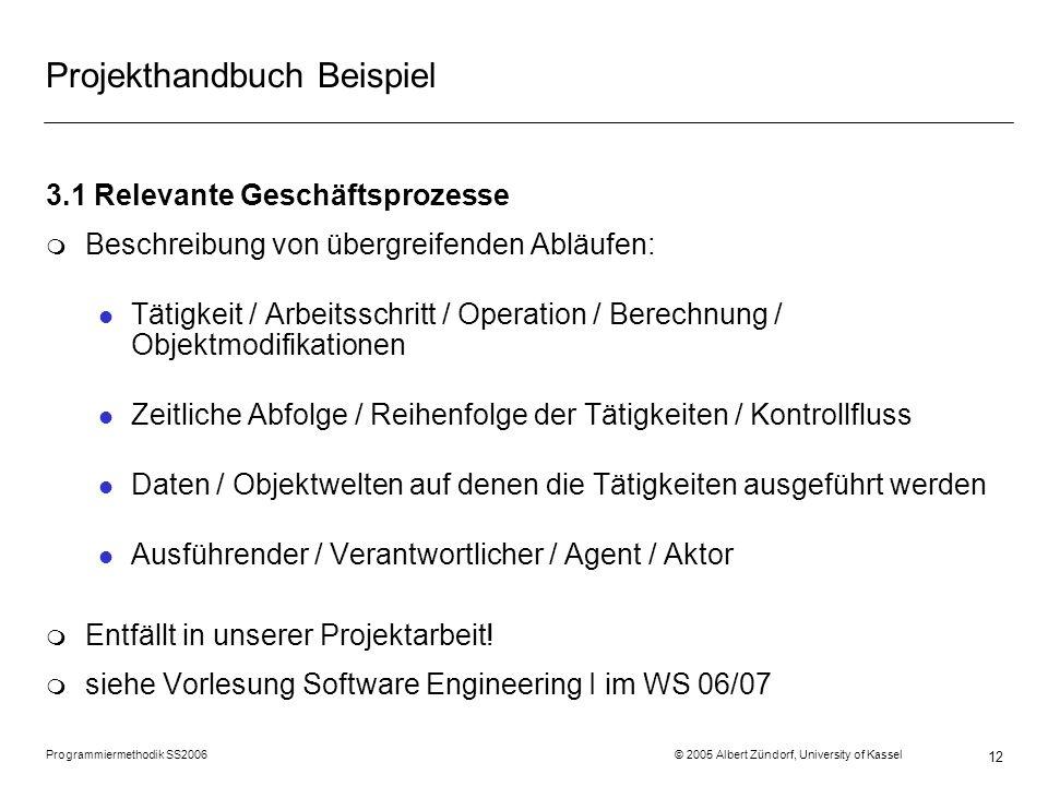 Programmiermethodik SS2006 © 2005 Albert Zündorf, University of Kassel 12 Projekthandbuch Beispiel 3.1 Relevante Geschäftsprozesse m Beschreibung von