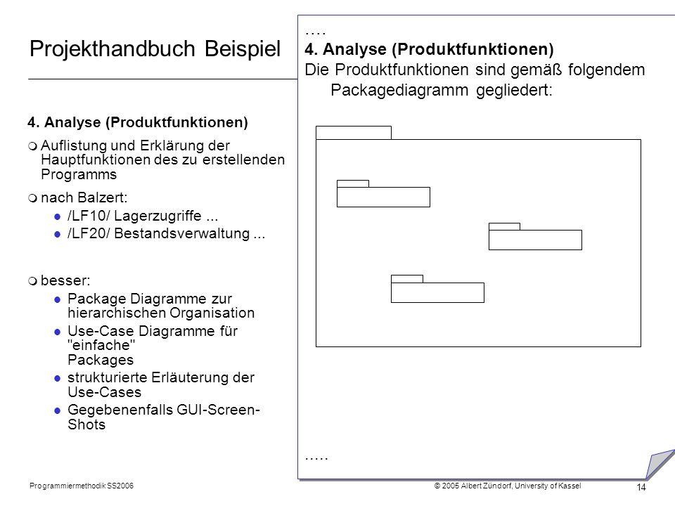 Programmiermethodik SS2006 © 2005 Albert Zündorf, University of Kassel 14 Projekthandbuch Beispiel 4. Analyse (Produktfunktionen) m Auflistung und Erk