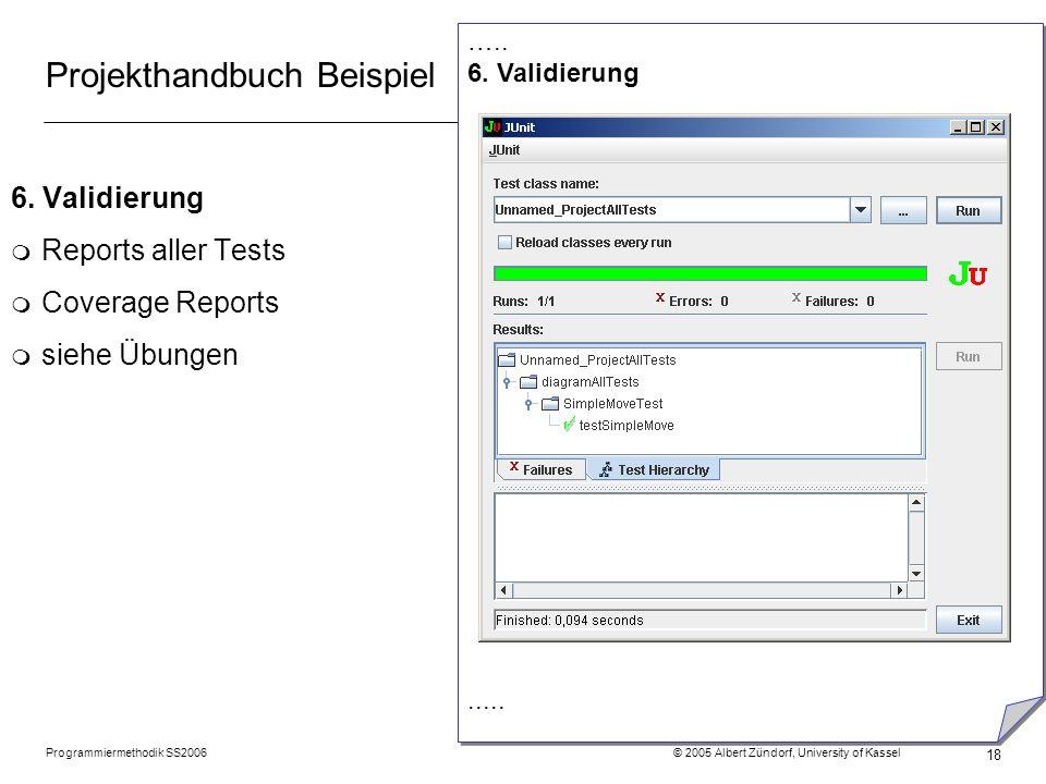 Programmiermethodik SS2006 © 2005 Albert Zündorf, University of Kassel 18 Projekthandbuch Beispiel 6. Validierung m Reports aller Tests m Coverage Rep