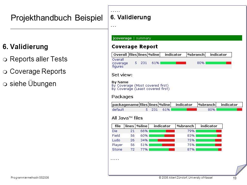 Programmiermethodik SS2006 © 2005 Albert Zündorf, University of Kassel 19 Projekthandbuch Beispiel 6. Validierung m Reports aller Tests m Coverage Rep