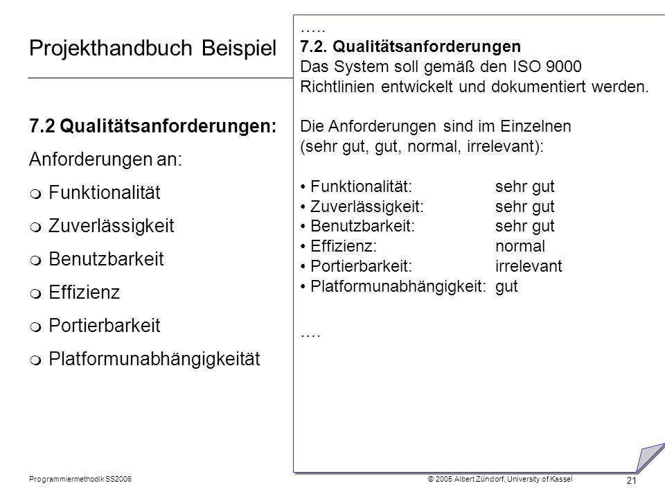 Programmiermethodik SS2006 © 2005 Albert Zündorf, University of Kassel 21 Projekthandbuch Beispiel 7.2 Qualitätsanforderungen: Anforderungen an: m Fun