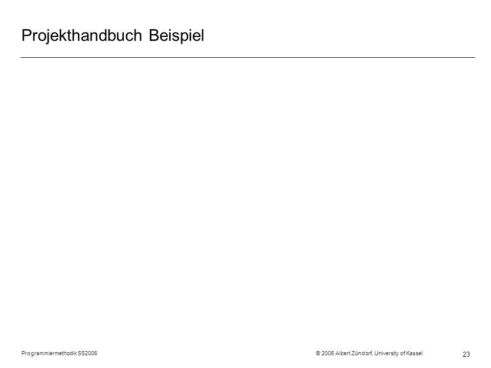 Programmiermethodik SS2006 © 2005 Albert Zündorf, University of Kassel 23 Projekthandbuch Beispiel