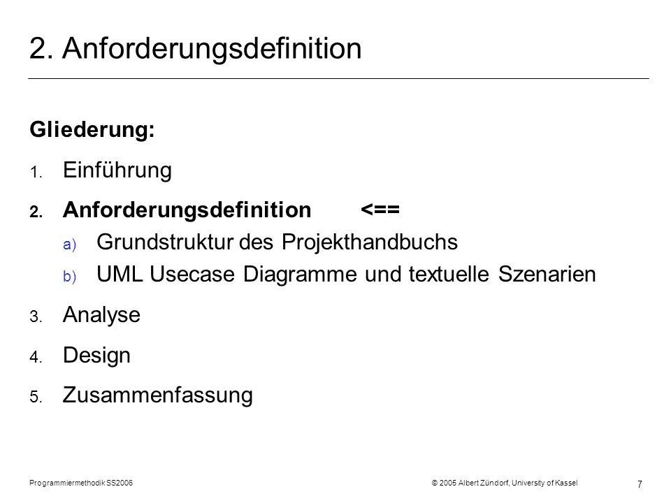 Programmiermethodik SS2006 © 2005 Albert Zündorf, University of Kassel 7 2. Anforderungsdefinition Gliederung: 1. Einführung 2. Anforderungsdefinition