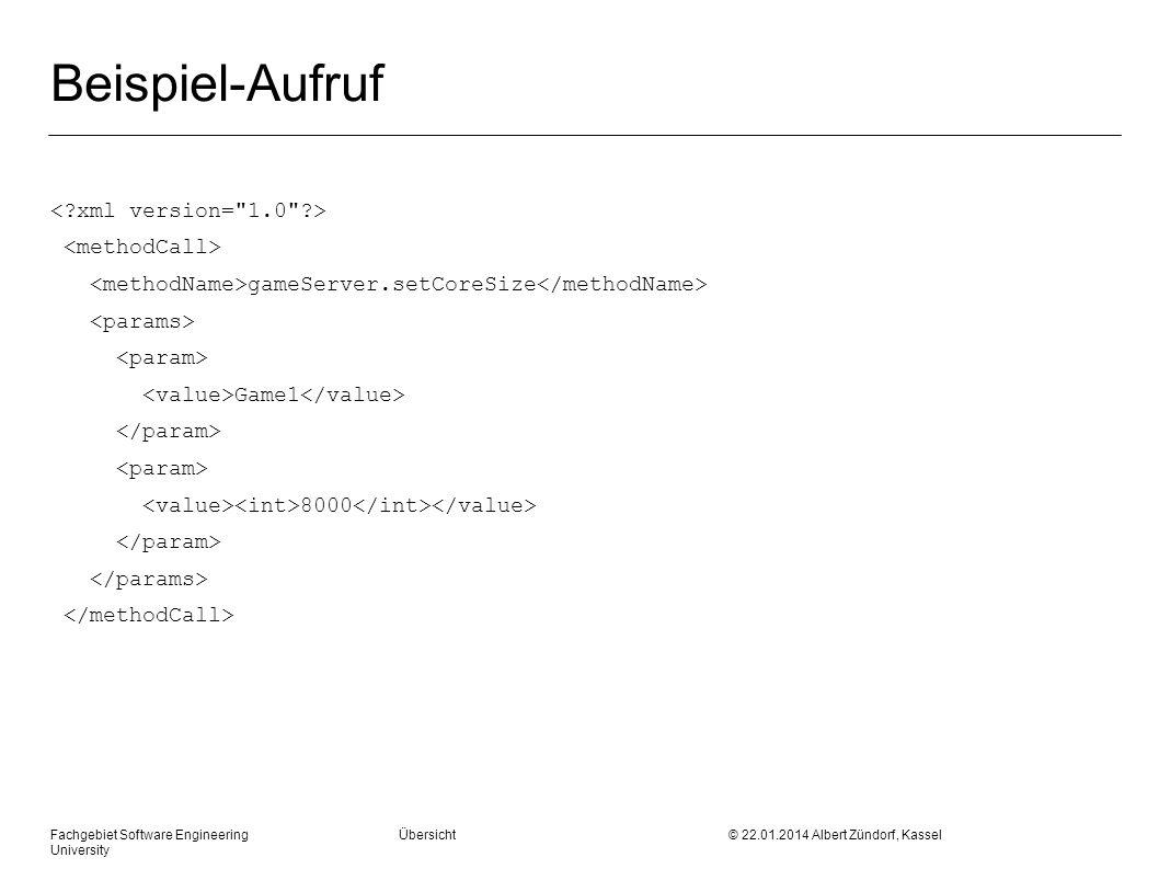Fachgebiet Software Engineering Übersicht © 22.01.2014 Albert Zündorf, Kassel University Beispiel-Aufruf gameServer.setCoreSize Game1 8000