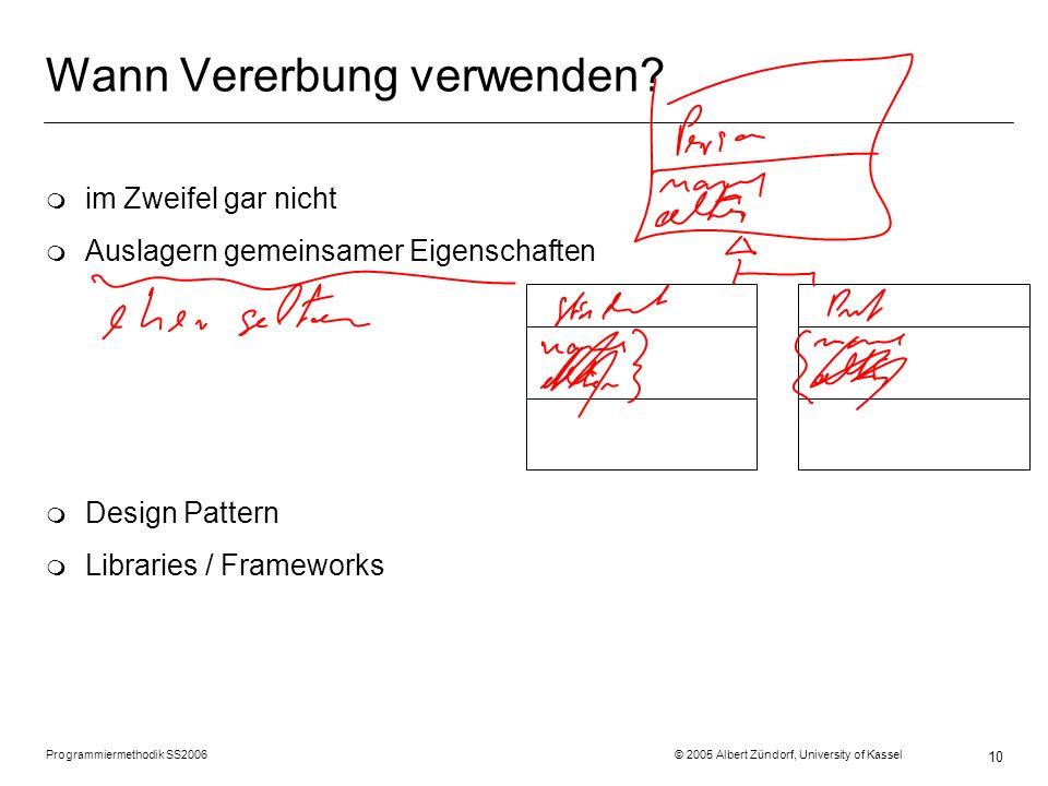 Programmiermethodik SS2006 © 2005 Albert Zündorf, University of Kassel 10 Wann Vererbung verwenden? m im Zweifel gar nicht m Auslagern gemeinsamer Eig