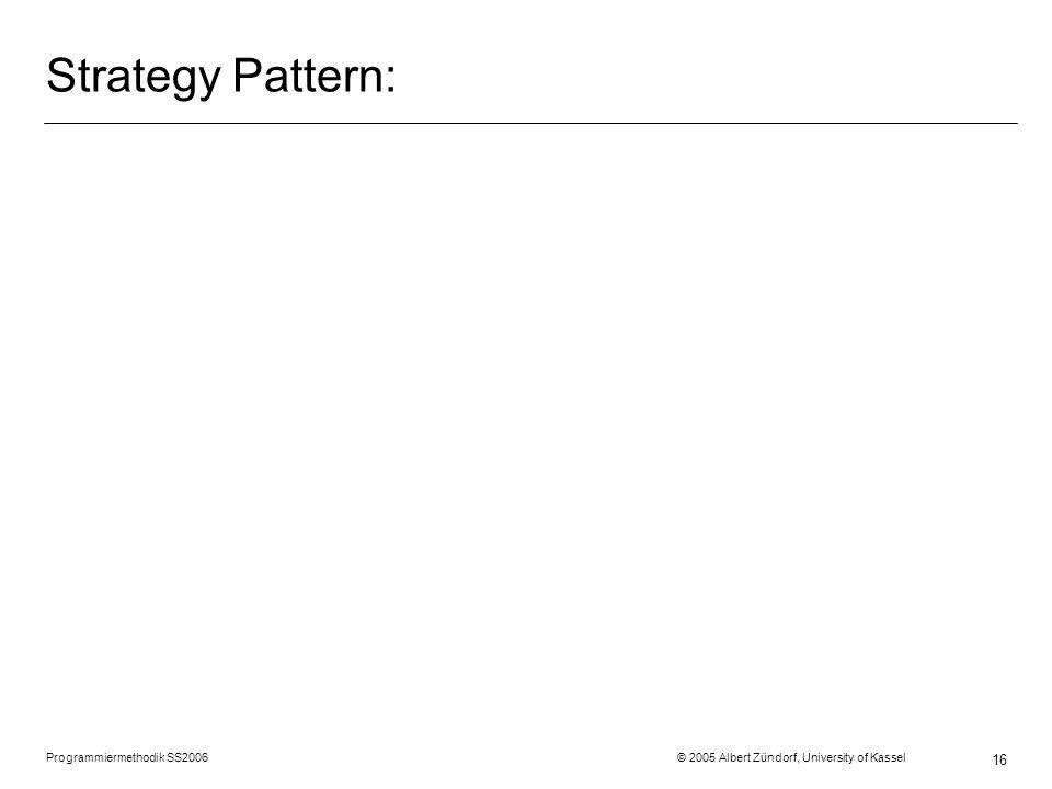 Programmiermethodik SS2006 © 2005 Albert Zündorf, University of Kassel 16 Strategy Pattern: