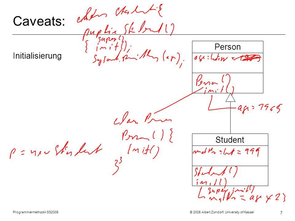Programmiermethodik SS2006 © 2005 Albert Zündorf, University of Kassel 7 Caveats: Initialisierung StudentPerson
