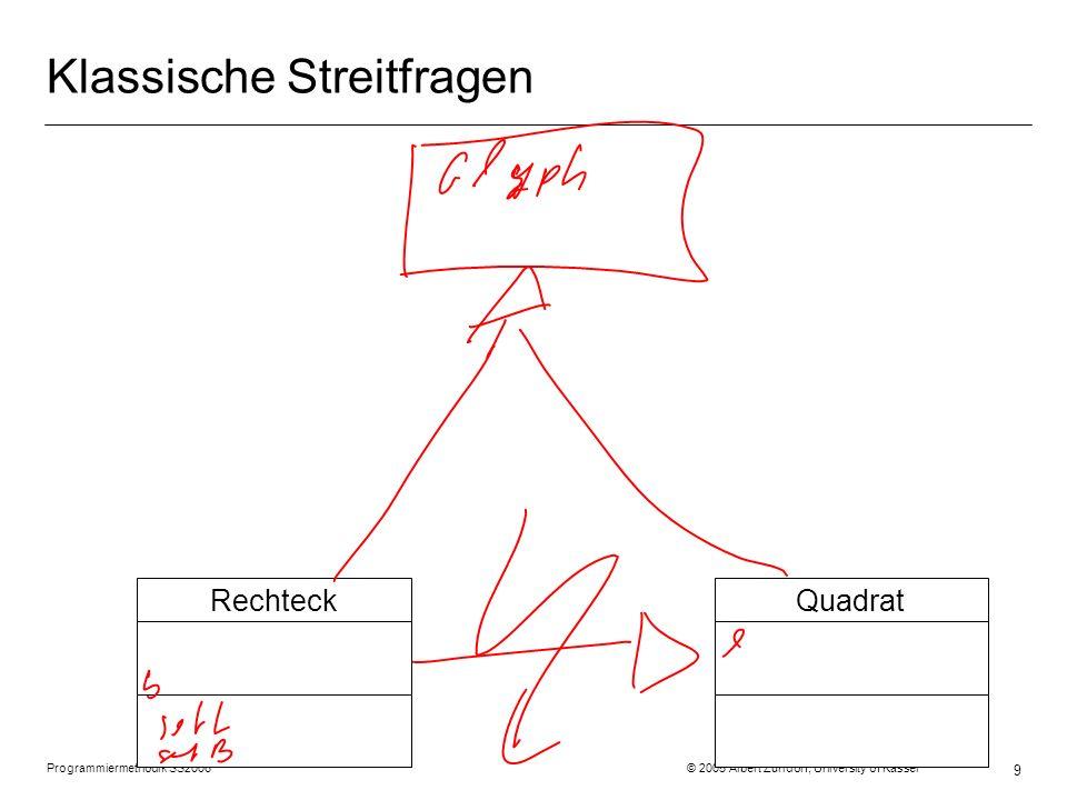 Programmiermethodik SS2006 © 2005 Albert Zündorf, University of Kassel 9 Klassische Streitfragen QuadratRechteck