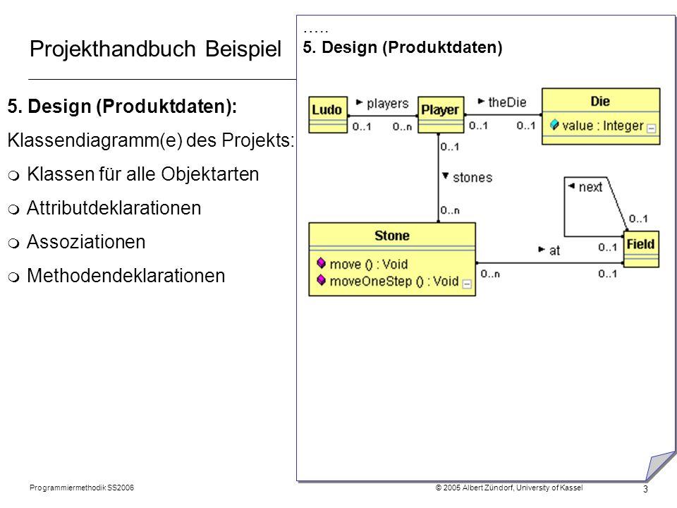 Programmiermethodik SS2006 © 2005 Albert Zündorf, University of Kassel 3 Projekthandbuch Beispiel 5.