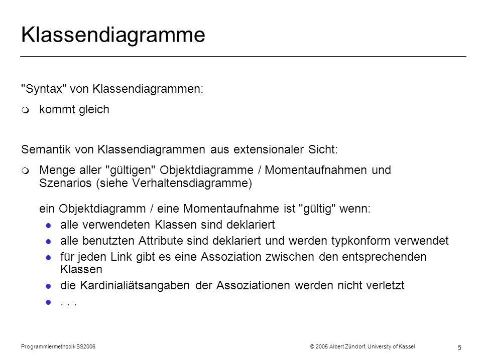 Programmiermethodik SS2006 © 2005 Albert Zündorf, University of Kassel 5 Klassendiagramme Syntax von Klassendiagrammen: m kommt gleich Semantik von Klassendiagrammen aus extensionaler Sicht: m Menge aller gültigen Objektdiagramme / Momentaufnahmen und Szenarios (siehe Verhaltensdiagramme) ein Objektdiagramm / eine Momentaufnahme ist gültig wenn: l alle verwendeten Klassen sind deklariert l alle benutzten Attribute sind deklariert und werden typkonform verwendet l für jeden Link gibt es eine Assoziation zwischen den entsprechenden Klassen l die Kardinialiätsangaben der Assoziationen werden nicht verletzt l...