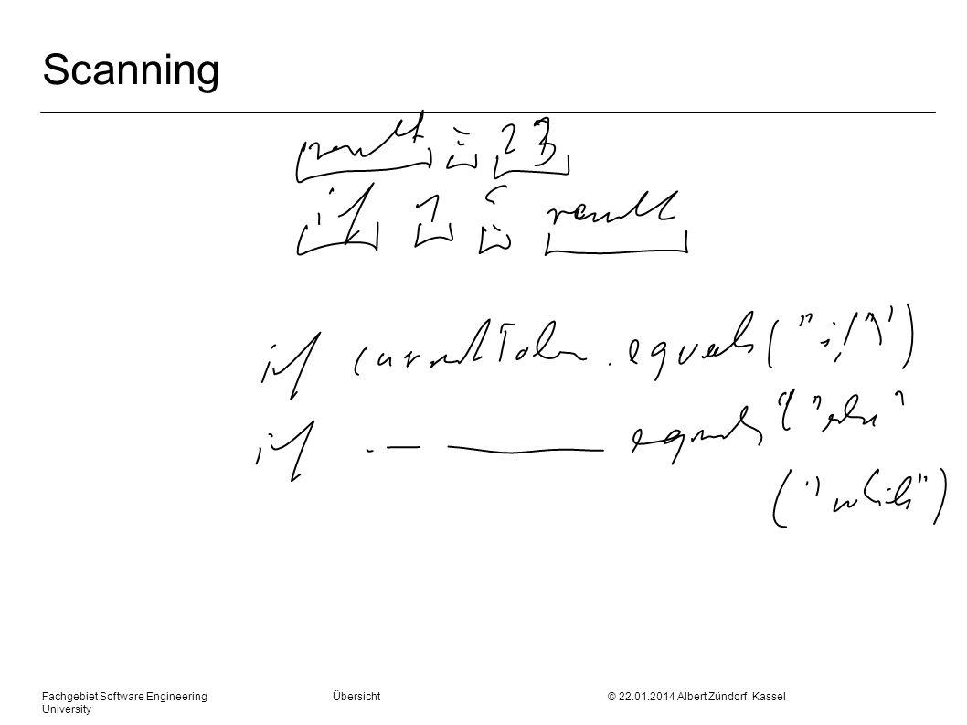 Fachgebiet Software Engineering Übersicht © 22.01.2014 Albert Zündorf, Kassel University Scanning