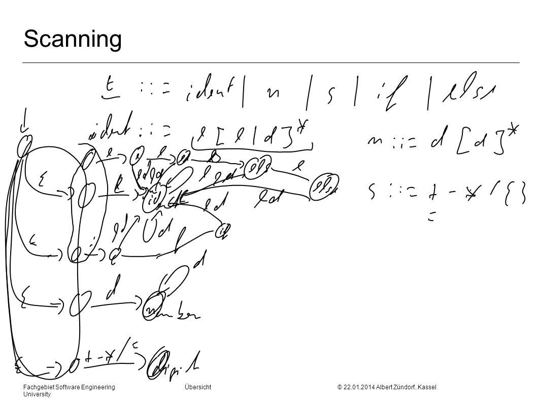 Fachgebiet Software Engineering Übersicht © 22.01.2014 Albert Zündorf, Kassel University Konstruktion: First und Follow First ( ) Menge aller Terminale mit denen beginnen kann First (a) {a} X ::= First ( X ) += X ::= A B C D First ( X ) += First ( A ) if ( First (A) ) First ( X ) += First (B) …
