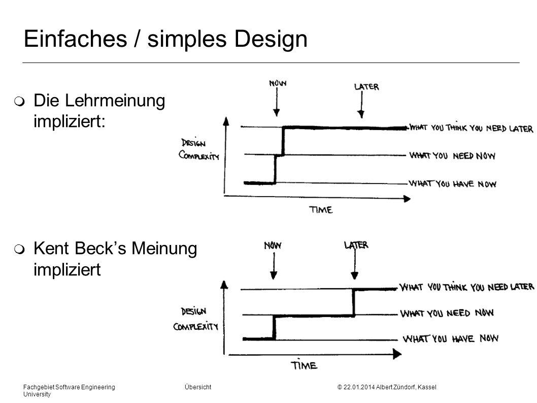 Fachgebiet Software Engineering Übersicht © 22.01.2014 Albert Zündorf, Kassel University Einfaches / simples Design m Die Lehrmeinung impliziert: m Ke
