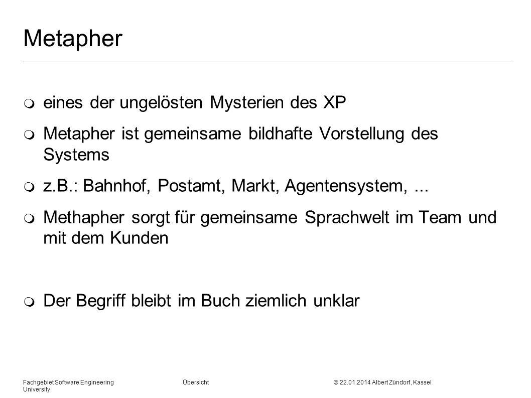 Fachgebiet Software Engineering Übersicht © 22.01.2014 Albert Zündorf, Kassel University Metapher m eines der ungelösten Mysterien des XP m Metapher i