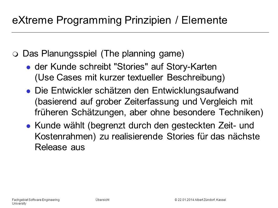 Fachgebiet Software Engineering Übersicht © 22.01.2014 Albert Zündorf, Kassel University eXtreme Programming Prinzipien / Elemente m Das Planungsspiel
