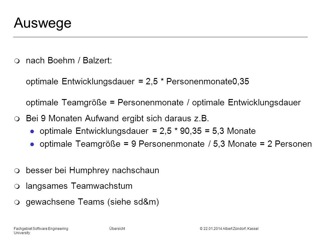 Fachgebiet Software Engineering Übersicht © 22.01.2014 Albert Zündorf, Kassel University Auswege m nach Boehm / Balzert: optimale Entwicklungsdauer =