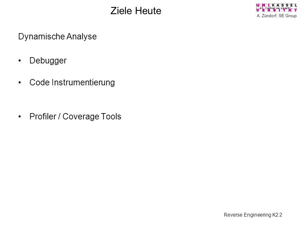 A. Zündorf, SE Group Reverse Engineering K2 2 Ziele Heute Dynamische Analyse Debugger Code Instrumentierung Profiler / Coverage Tools