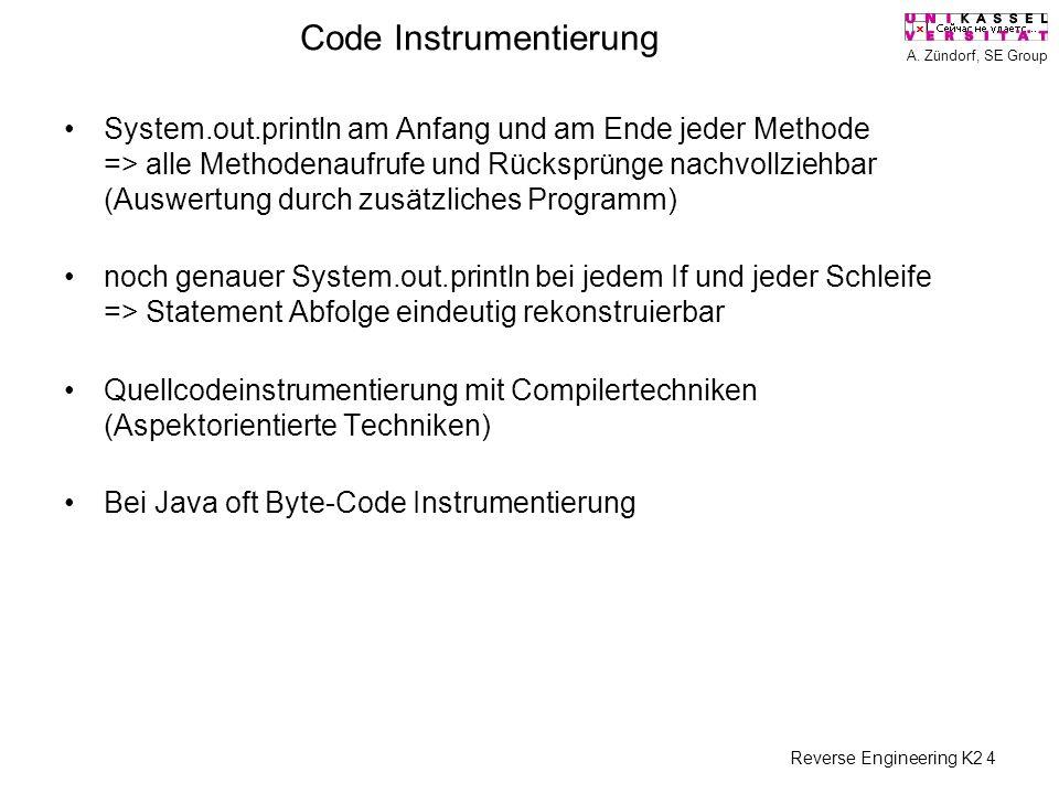 A. Zündorf, SE Group Reverse Engineering K2 4 Code Instrumentierung System.out.println am Anfang und am Ende jeder Methode => alle Methodenaufrufe und
