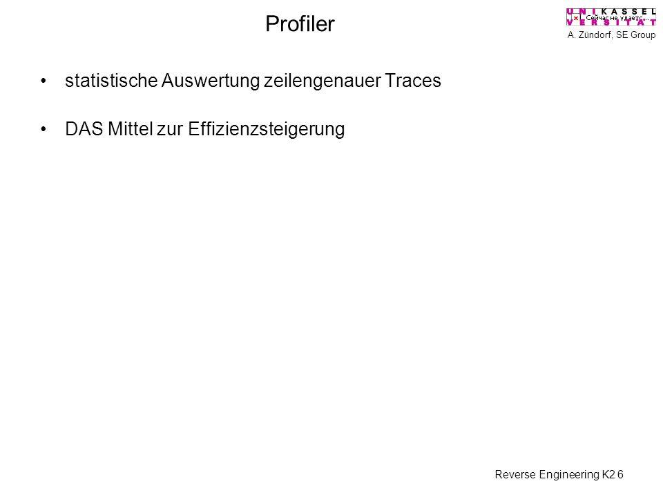 A. Zündorf, SE Group Reverse Engineering K2 6 Profiler statistische Auswertung zeilengenauer Traces DAS Mittel zur Effizienzsteigerung