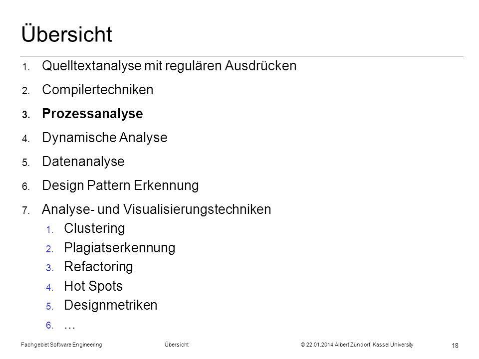 Fachgebiet Software Engineering Übersicht © 22.01.2014 Albert Zündorf, Kassel University 18 Übersicht 1. Quelltextanalyse mit regulären Ausdrücken 2.