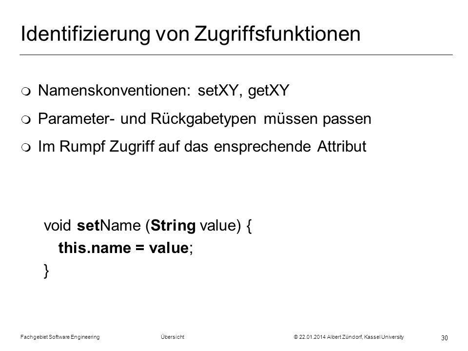 Fachgebiet Software Engineering Übersicht © 22.01.2014 Albert Zündorf, Kassel University 30 Identifizierung von Zugriffsfunktionen m Namenskonventione