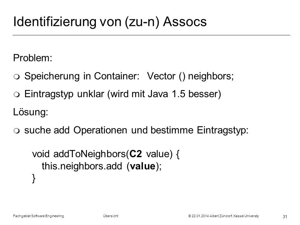 Fachgebiet Software Engineering Übersicht © 22.01.2014 Albert Zündorf, Kassel University 31 Identifizierung von (zu-n) Assocs Problem: m Speicherung i