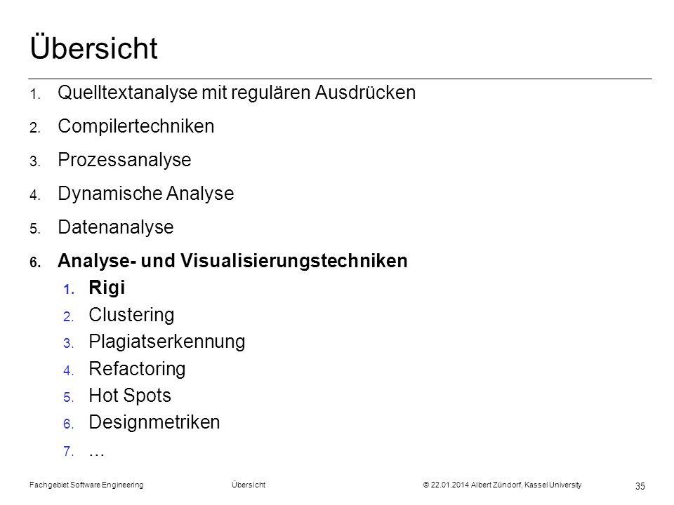 Fachgebiet Software Engineering Übersicht © 22.01.2014 Albert Zündorf, Kassel University 35 Übersicht 1. Quelltextanalyse mit regulären Ausdrücken 2.