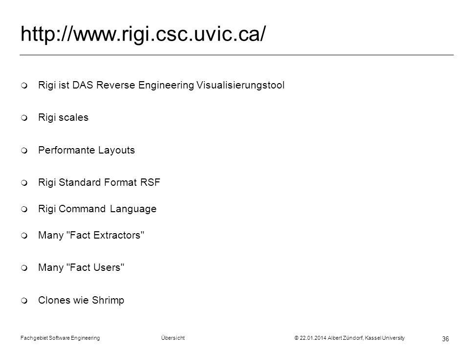 Fachgebiet Software Engineering Übersicht © 22.01.2014 Albert Zündorf, Kassel University 36 http://www.rigi.csc.uvic.ca/ m Rigi ist DAS Reverse Engine