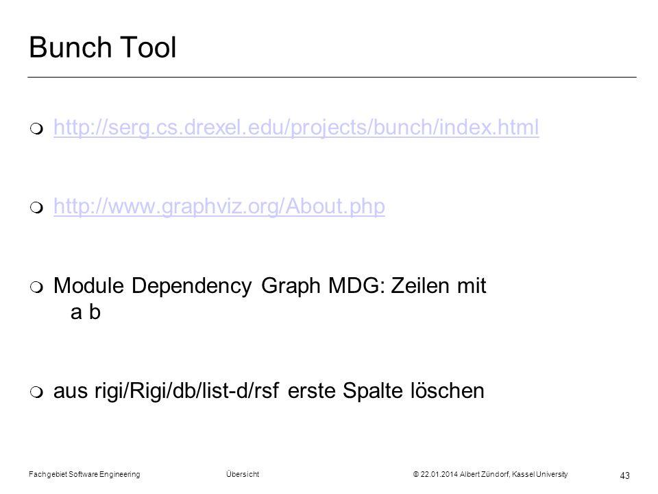 Fachgebiet Software Engineering Übersicht © 22.01.2014 Albert Zündorf, Kassel University 43 Bunch Tool m http://serg.cs.drexel.edu/projects/bunch/inde