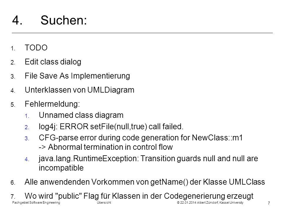 Fachgebiet Software Engineering Übersicht © 22.01.2014 Albert Zündorf, Kassel University 7 4.Suchen: 1. TODO 2. Edit class dialog 3. File Save As Impl