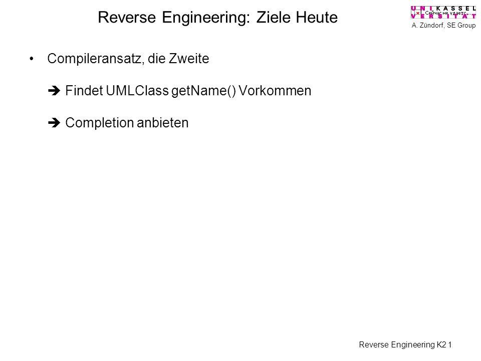 A. Zündorf, SE Group Reverse Engineering K2 1 Reverse Engineering: Ziele Heute Compileransatz, die Zweite Findet UMLClass getName() Vorkommen Completi