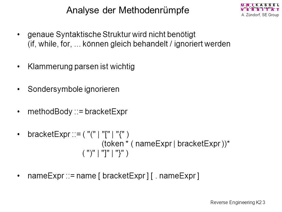 A. Zündorf, SE Group Reverse Engineering K2 3 Analyse der Methodenrümpfe genaue Syntaktische Struktur wird nicht benötigt (if, while, for,... können g