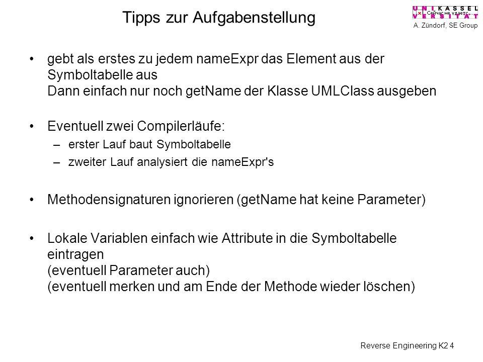 A. Zündorf, SE Group Reverse Engineering K2 4 Tipps zur Aufgabenstellung gebt als erstes zu jedem nameExpr das Element aus der Symboltabelle aus Dann