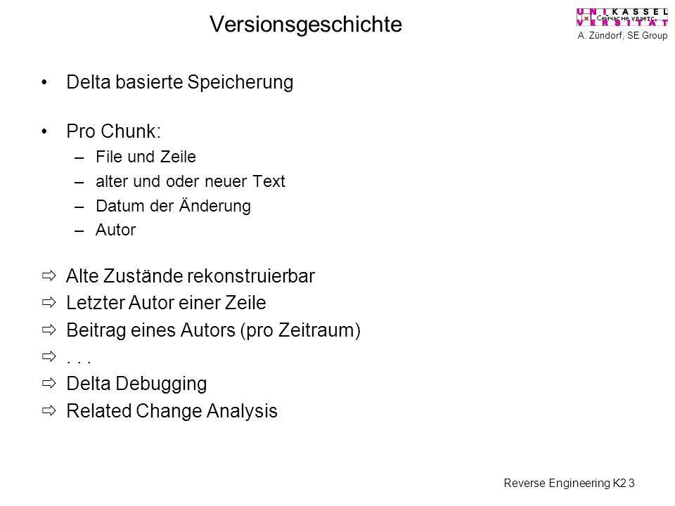 A. Zündorf, SE Group Reverse Engineering K2 3 Versionsgeschichte Delta basierte Speicherung Pro Chunk: –File und Zeile –alter und oder neuer Text –Dat