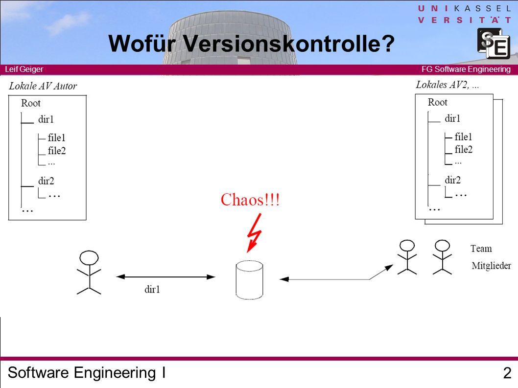 Software Engineering I Leif Geiger 3 FG Software Engineering Sperrmechanismen pessimistische Sperren explizite Sperre pro Datei keine konkurrierenden Zugriffe keine Konflikte