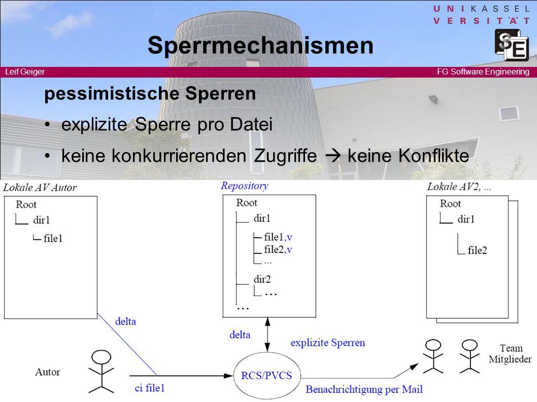 Software Engineering I Leif Geiger 3 FG Software Engineering Sperrmechanismen pessimistische Sperren explizite Sperre pro Datei keine konkurrierenden
