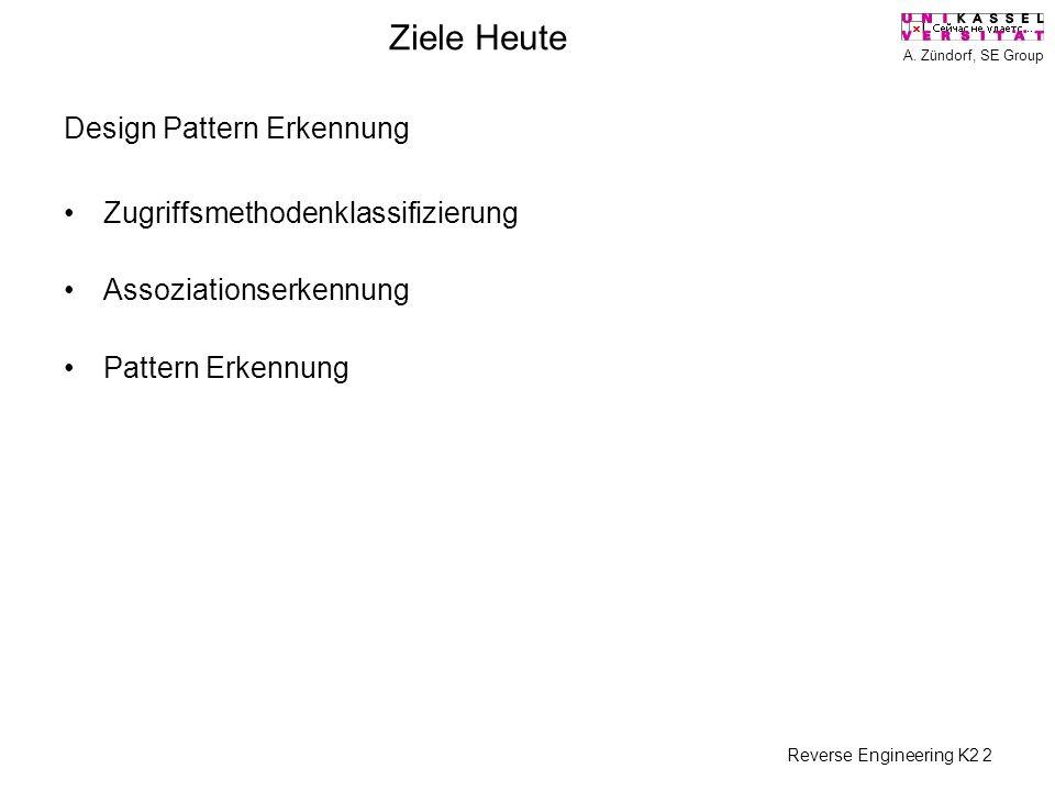 A. Zündorf, SE Group Reverse Engineering K2 2 Ziele Heute Design Pattern Erkennung Zugriffsmethodenklassifizierung Assoziationserkennung Pattern Erken