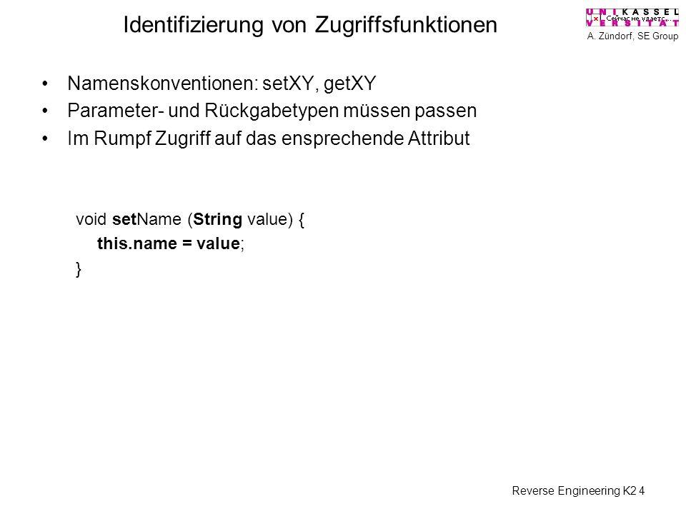 A. Zündorf, SE Group Reverse Engineering K2 4 Identifizierung von Zugriffsfunktionen Namenskonventionen: setXY, getXY Parameter- und Rückgabetypen müs