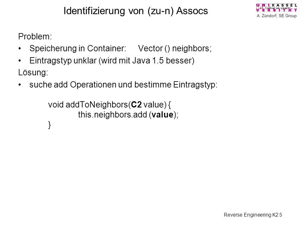 A. Zündorf, SE Group Reverse Engineering K2 5 Identifizierung von (zu-n) Assocs Problem: Speicherung in Container: Vector () neighbors; Eintragstyp un