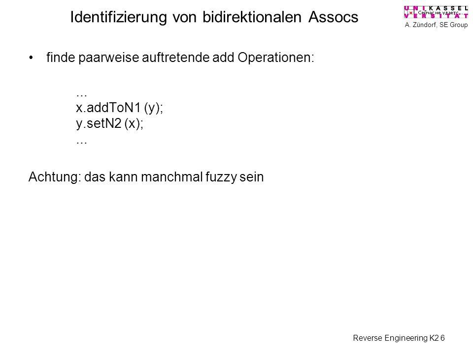 A. Zündorf, SE Group Reverse Engineering K2 6 Identifizierung von bidirektionalen Assocs finde paarweise auftretende add Operationen:... x.addToN1 (y)