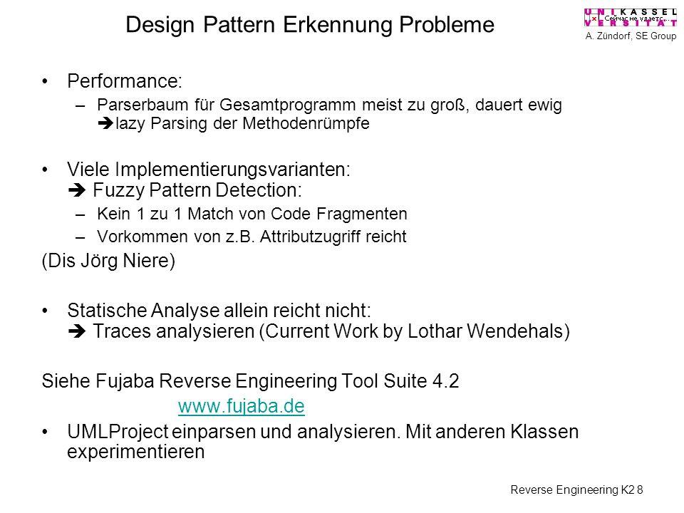 A. Zündorf, SE Group Reverse Engineering K2 8 Design Pattern Erkennung Probleme Performance: –Parserbaum für Gesamtprogramm meist zu groß, dauert ewig