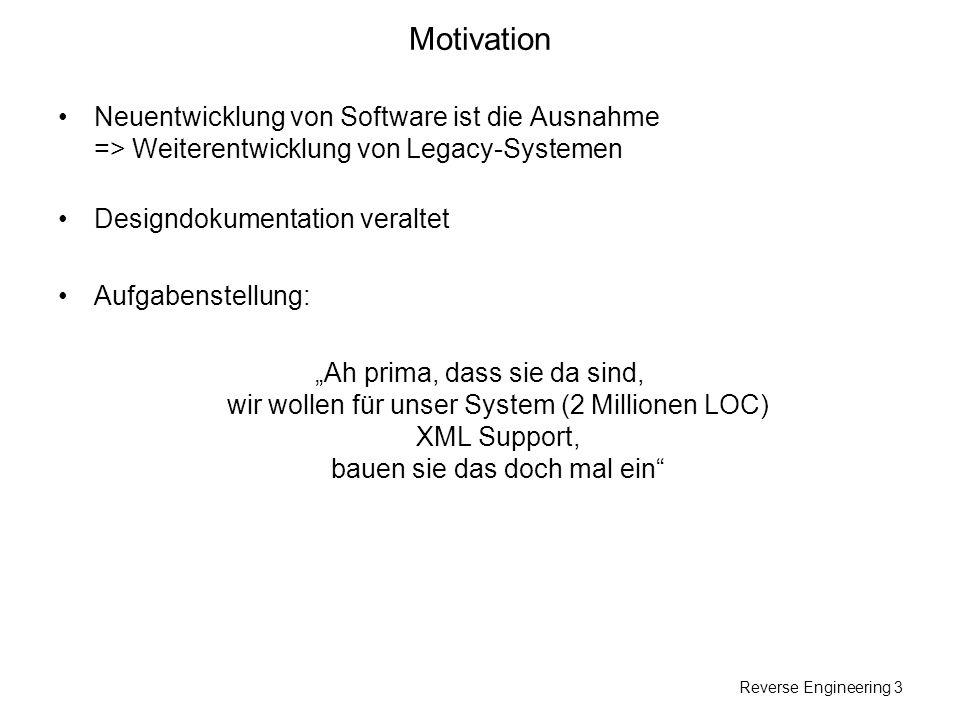 Reverse Engineering 4 Motivation Aufgaben: Wiedergewinnung von Design (Klassendiagramme,...) Finden von Funktionalität Finden von Fehlerursachen...
