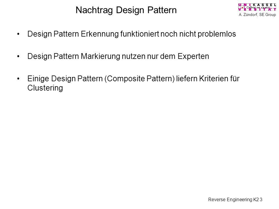 A. Zündorf, SE Group Reverse Engineering K2 3 Nachtrag Design Pattern Design Pattern Erkennung funktioniert noch nicht problemlos Design Pattern Marki