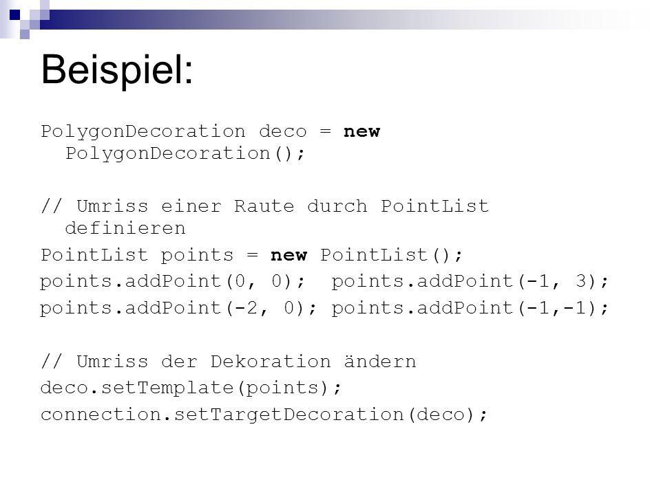 Beispiel: PolygonDecoration deco = new PolygonDecoration(); // Umriss einer Raute durch PointList definieren PointList points = new PointList(); points.addPoint(0, 0); points.addPoint(-1, 3); points.addPoint(-2, 0); points.addPoint(-1,-1); // Umriss der Dekoration ändern deco.setTemplate(points); connection.setTargetDecoration(deco);