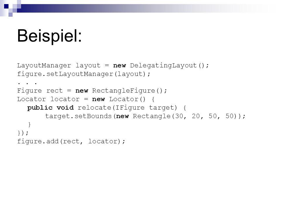 Beispiel: LayoutManager layout = new DelegatingLayout(); figure.setLayoutManager(layout);...