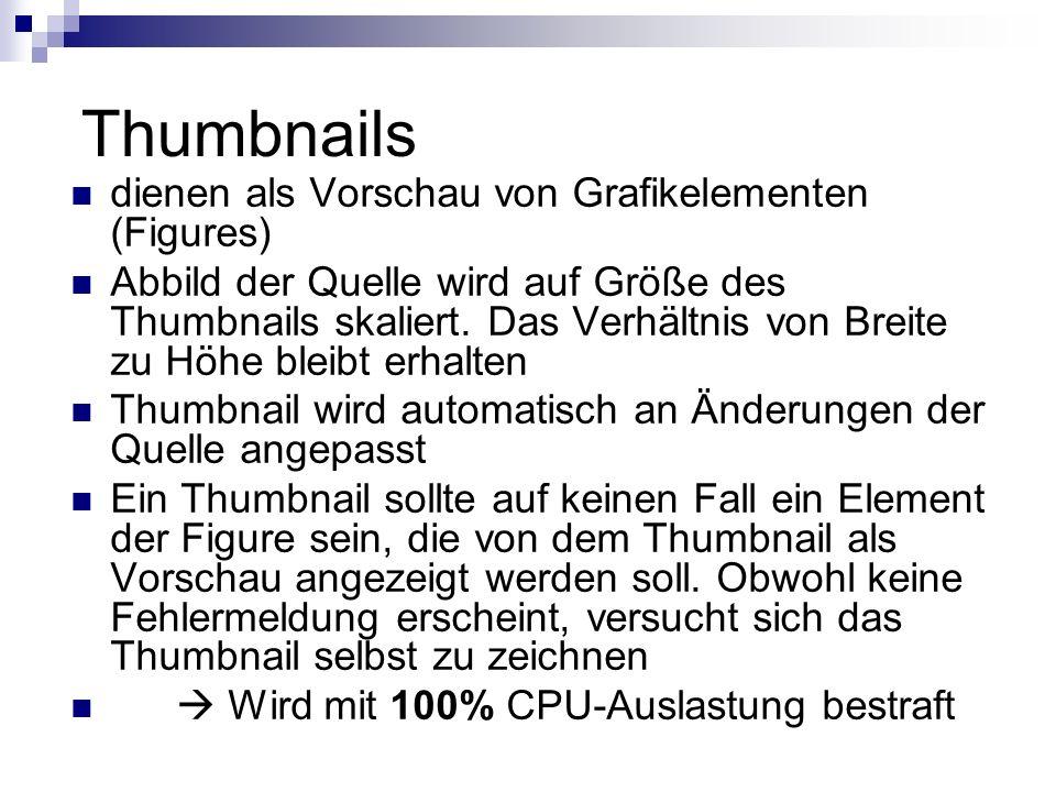 Thumbnails dienen als Vorschau von Grafikelementen (Figures) Abbild der Quelle wird auf Größe des Thumbnails skaliert.