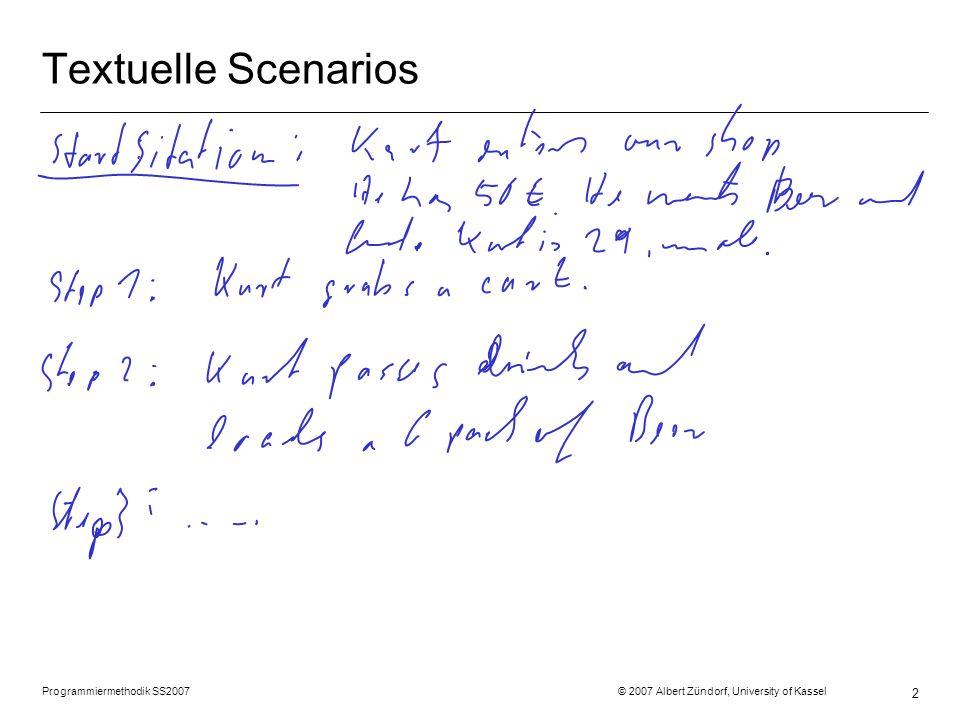 Programmiermethodik SS2007 © 2007 Albert Zündorf, University of Kassel 2 Textuelle Scenarios
